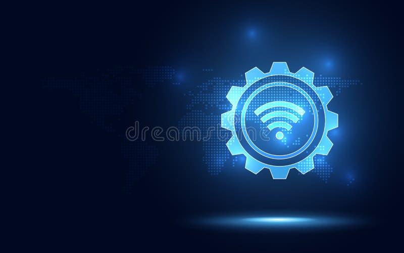 Fond abstrait de technologie de connexion sans fil bleue futuriste Transformation numérique d'intelligence artificielle et grande illustration libre de droits