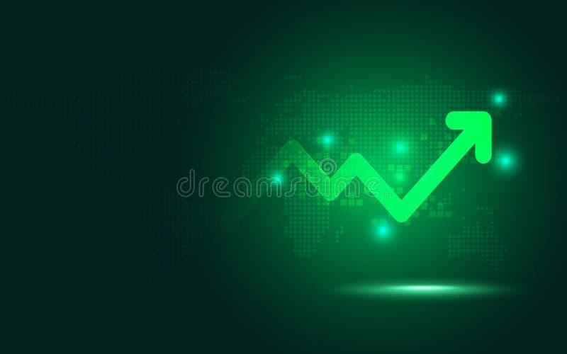 Fond abstrait de technologie d'augmenter de flèche de transformation numérique verte futuriste de diagramme Grande devise de croi illustration de vecteur