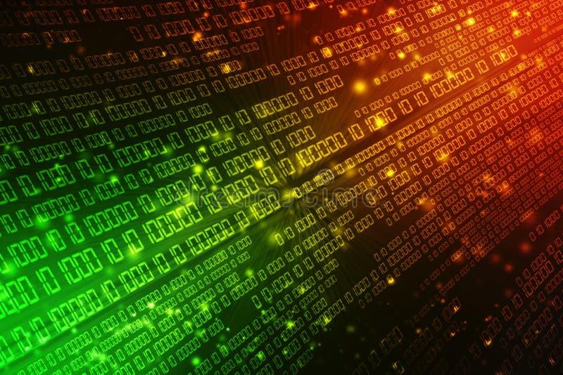 Fond abstrait de technologie de Digital, fond de code binaire rendu 3d illustration stock