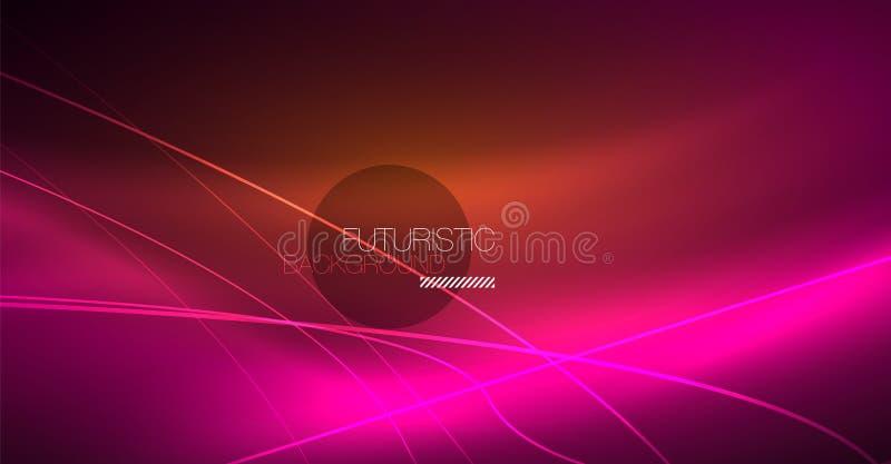 Fond abstrait de technologie numérique - dessin géométrique au néon Lignes rougeoyantes abstraites Fond coloré de techno illustration libre de droits
