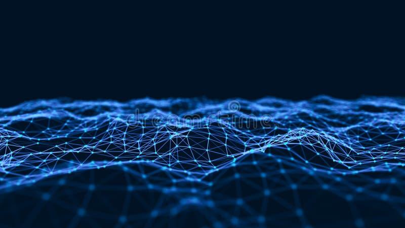 Fond abstrait de technologie Structure de connexion réseau Fond de la Science Fond numérique de grandes données rendu 3d illustration libre de droits