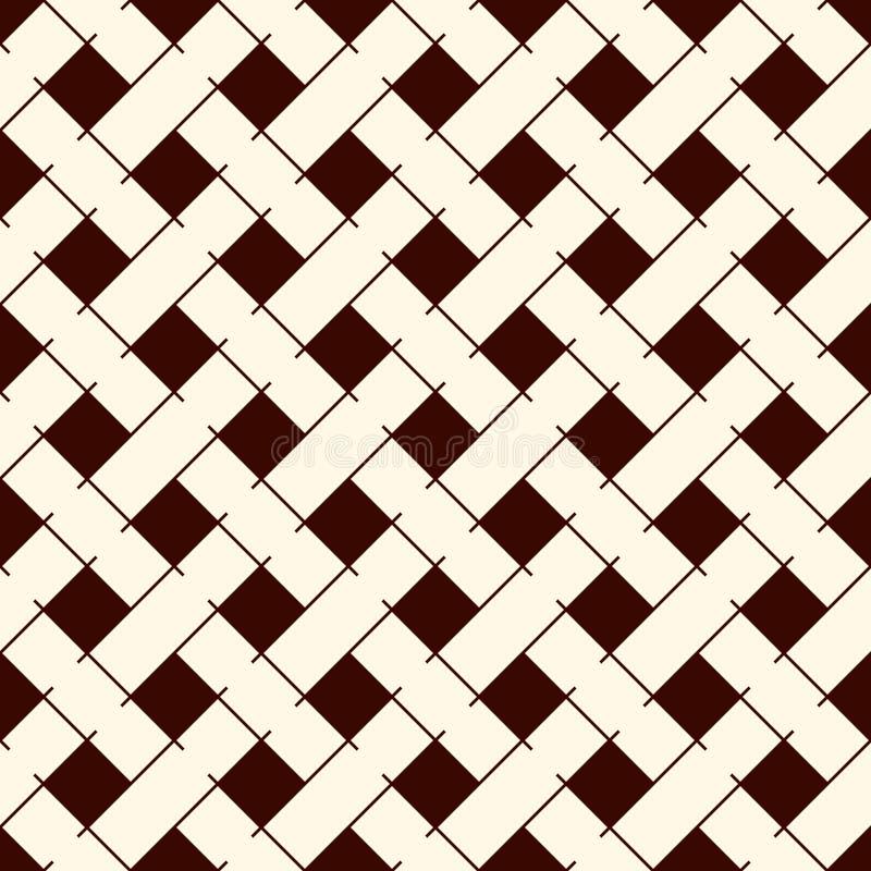 Fond abstrait de tressage Modèle extérieur sans couture avec les tuiles rectangulaires répétées d'armure diagonale Papier peint e illustration de vecteur