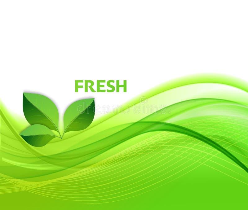 Fond abstrait de vagues vertes avec des feuilles illustration libre de droits