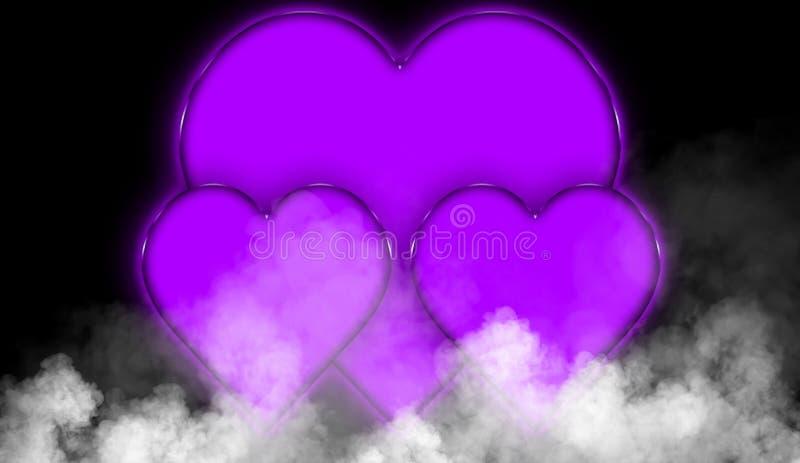 Fond abstrait de valentine de coeurs colorés heureux du jour Fumez la texture brumeuse de brouillard sur le fond noir d'isolement illustration de vecteur