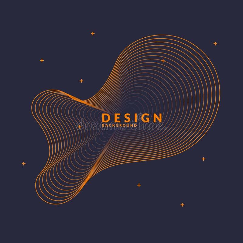 Fond abstrait de vecteur avec les vagues dynamiques illustration stock