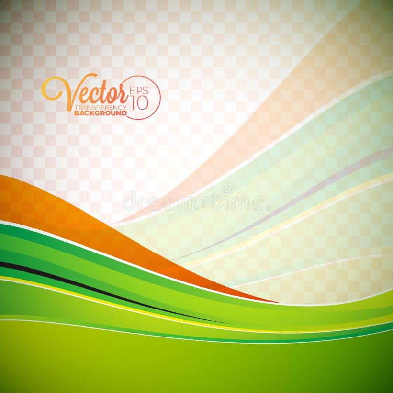 Fond abstrait de vecteur avec les vagues vertes illustration stock