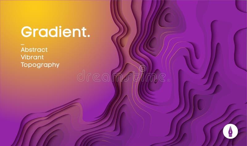 Fond abstrait de vecteur de gradient Le papier a coupé le fond 3d dans des couleurs jaunes et magenta Illustration de vecteur illustration libre de droits