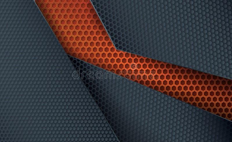Fond abstrait de vecteur Grille de recouvrement de carbone illustration de vecteur