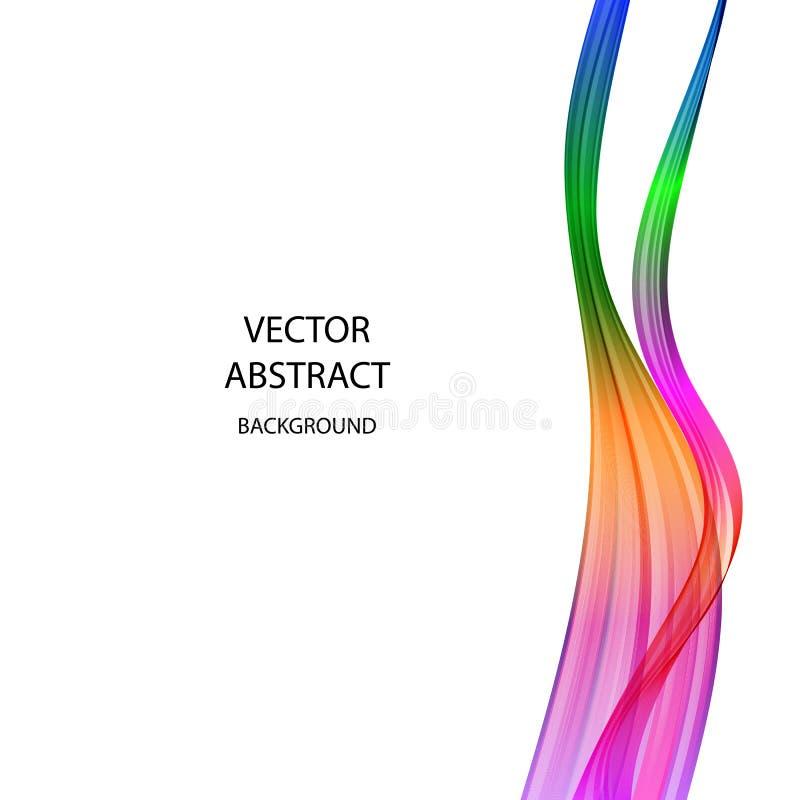 Fond abstrait de vecteur Le gradient a coloré les lignes onduleuses sur un fond blanc illustration libre de droits