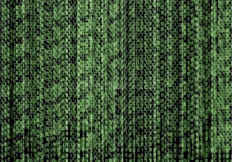 Fond abstrait de vert de courant de code binaire de technologie de vecteur, programmation, codant illustration libre de droits