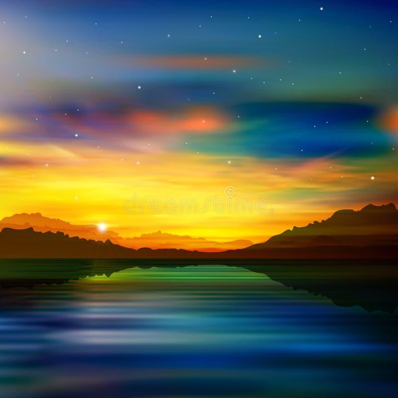 Fond abstrait de vert de nature avec le lever de soleil d'or illustration de vecteur