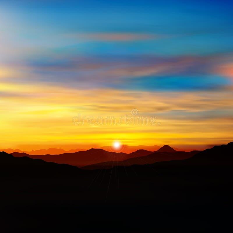 Fond abstrait de vert de nature avec le lever de soleil d'or illustration stock