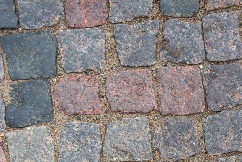 Fond abstrait de vieille texture de trottoir de pavé rond avec la vue naturelle de modèles d'en haut photos libres de droits