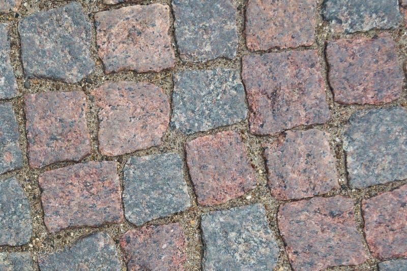 Fond abstrait de vieille texture de trottoir de pavé rond avec la vue naturelle de modèles d'en haut images libres de droits
