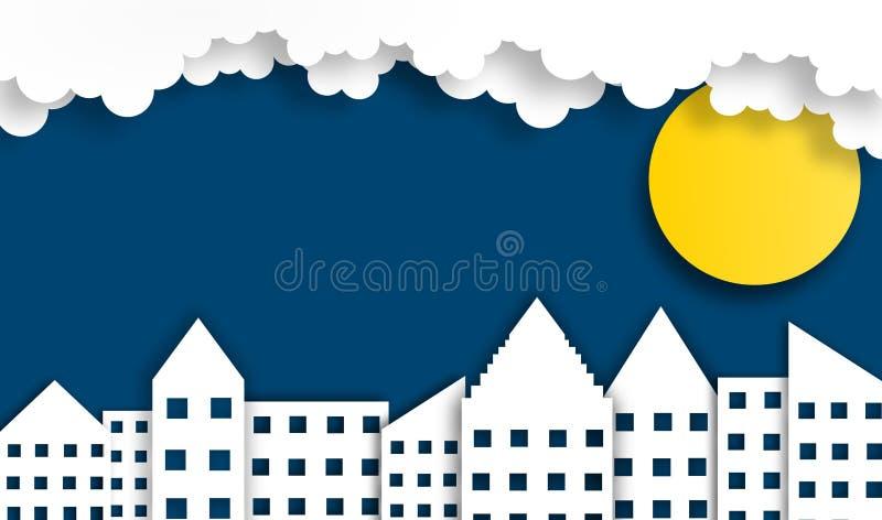 Fond abstrait de ville avec la lune dans la nuit, vecteur, illustration, style de papier d'art, l'espace de copie illustration stock