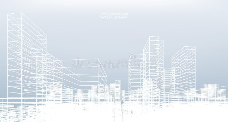 Fond abstrait de ville de wireframe La perspective 3d rendent illustration libre de droits
