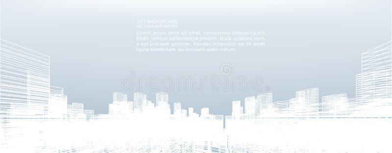Fond abstrait de ville de wireframe La perspective 3d rendent illustration stock
