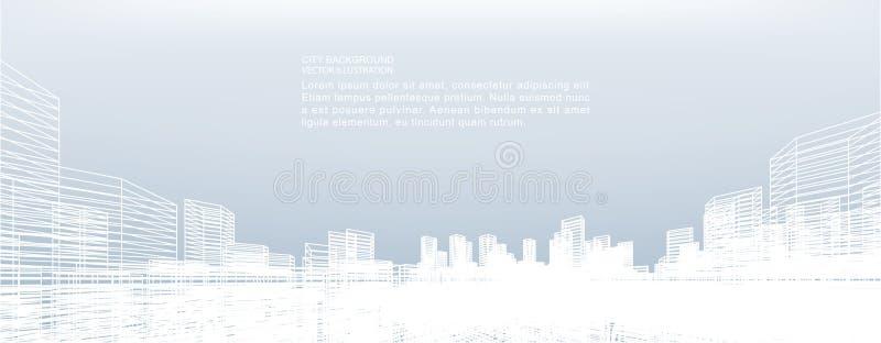 Fond abstrait de ville de wireframe La perspective 3D rendent du wireframe de bâtiment illustration libre de droits