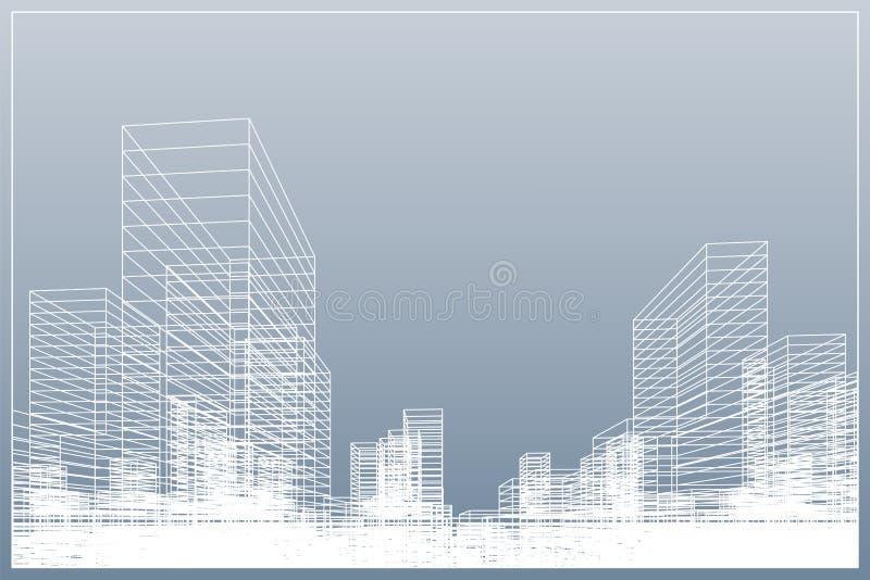 Fond abstrait de ville de wireframe La perspective 3D rendent du wireframe de bâtiment Vecteur illustration libre de droits