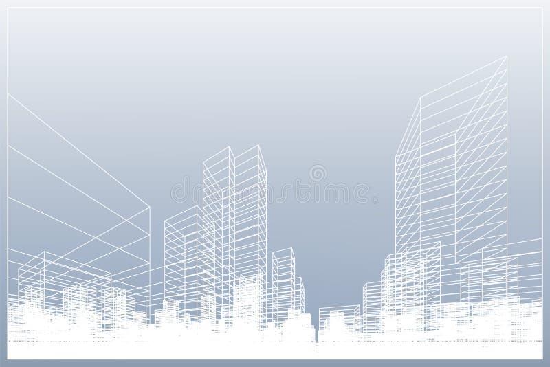 Fond abstrait de ville de wireframe La perspective 3D rendent du wireframe de bâtiment Vecteur illustration de vecteur