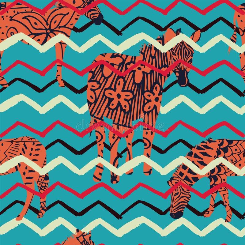 Fond abstrait de zigzag de zèbre d'illustration illustration de vecteur