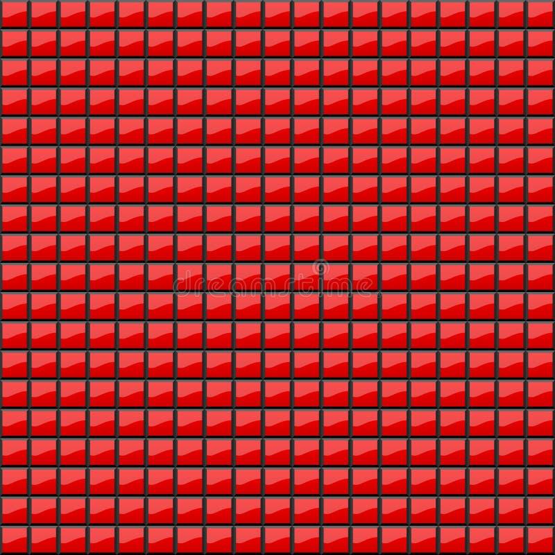 Fond abstrait des places rouges volumétriques illustration 3D Un modèle des quadrilatères avec le scintillement Même mosaïque wal illustration stock