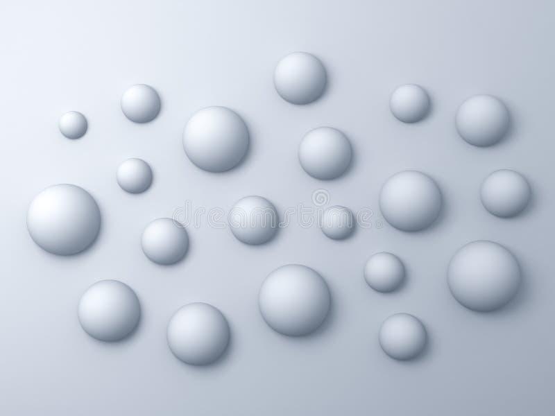 fond abstrait des sphères 3d blanches illustration libre de droits