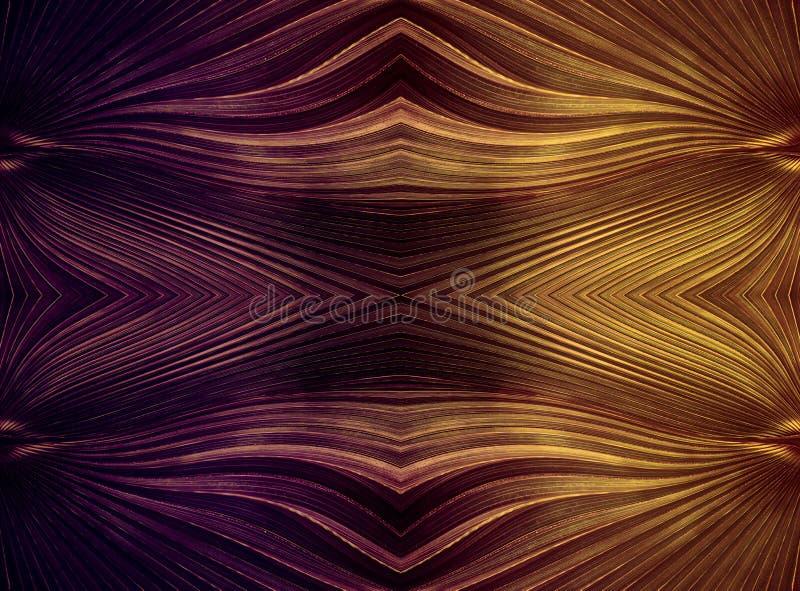 Fond abstrait des triangles et des lignes incurv?es pourpre et or avec une texture m?tallique illustration libre de droits
