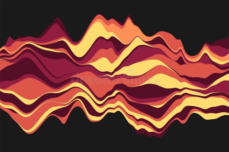 Fond abstrait dynamique avec des vagues de couleur Illustration de vecteur illustration de vecteur