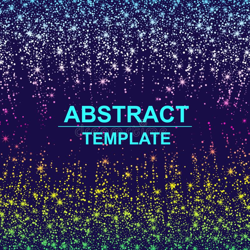 Fond abstrait dynamique de particules de dispersion fait de points au néon colorés illustration libre de droits