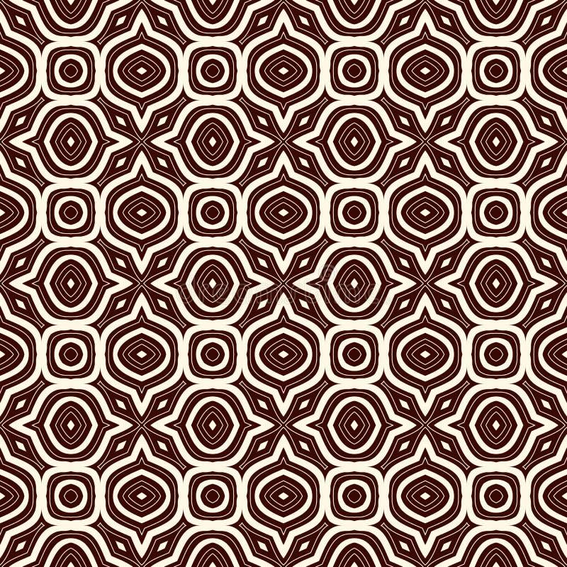 Fond abstrait ethnique d'ensemble Modèle sans couture avec l'ornement géométrique symétrique Illustration de vecteur illustration libre de droits