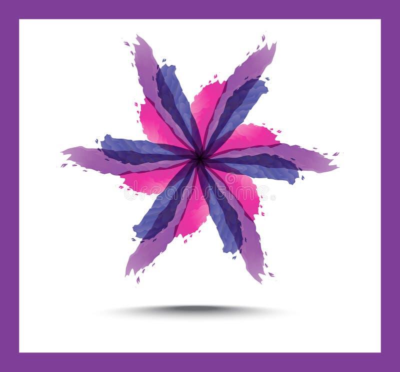 Fond abstrait floral lumineux Le pourpre fleurit des lis, des cercles décorés et des remous illustration stock