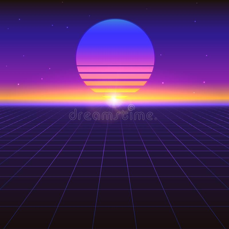 Fond abstrait futuriste de Sci fi avec le soleil graphique sur l'horizon Rétro gradient violet, style de vintage des années 80 illustration stock