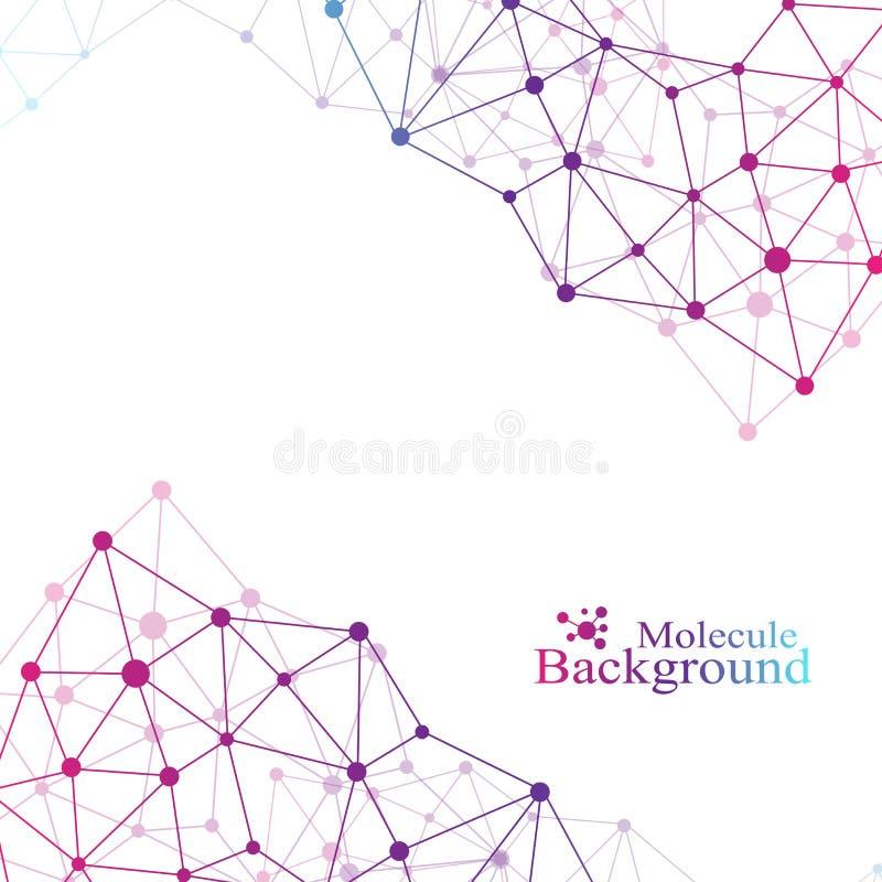 Fond abstrait géométrique avec la ligne et les points reliés Grande composition en données Molécule et fond de communication illustration libre de droits