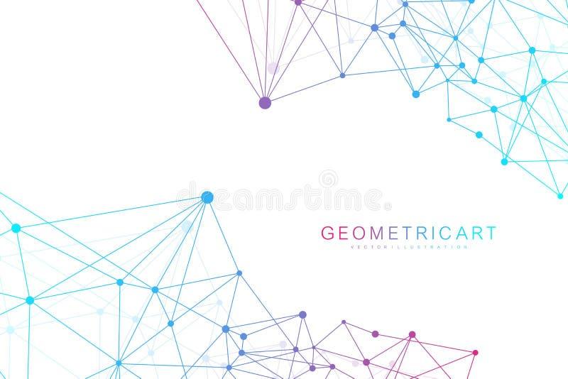 Fond abstrait géométrique avec la ligne et les points reliés Molécule et communication de structure Concept scientifique pour illustration libre de droits