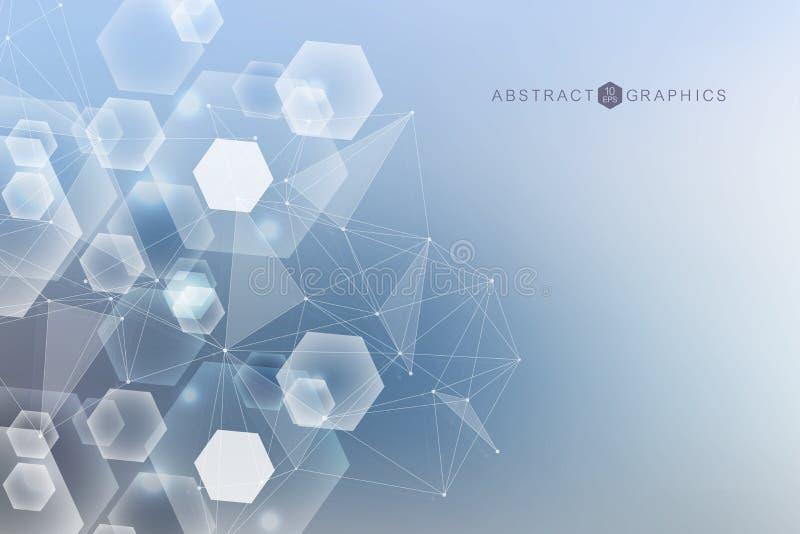 Fond abstrait géométrique avec la ligne et les points reliés Molécule et communication de structure Grande visualisation de donné illustration libre de droits