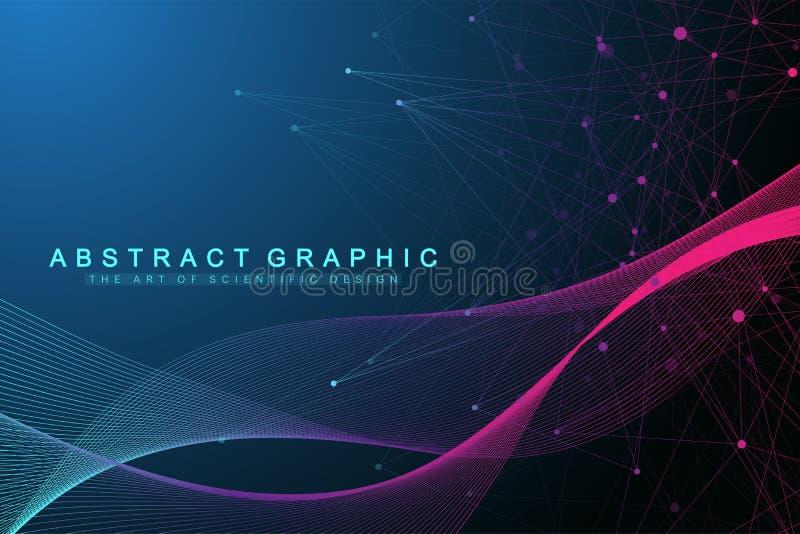 Fond abstrait géométrique avec les lignes et les points reliés Écoulement de vague Intelligence artificielle et apprentissage aut illustration stock
