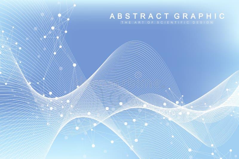 Fond abstrait géométrique avec les lignes et les points reliés Écoulement de vague Molécule et fond de communication dessin illustration libre de droits
