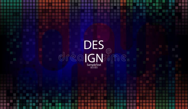 Fond abstrait géométrique bleu-foncé avec un ensemble de places et de rayures multicolores illustration stock