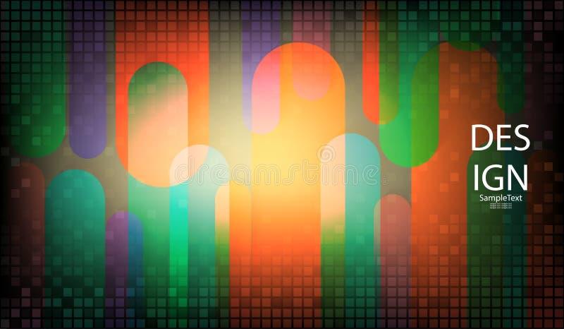 Fond abstrait géométrique clair avec un ensemble de places et de rayures multicolores illustration libre de droits