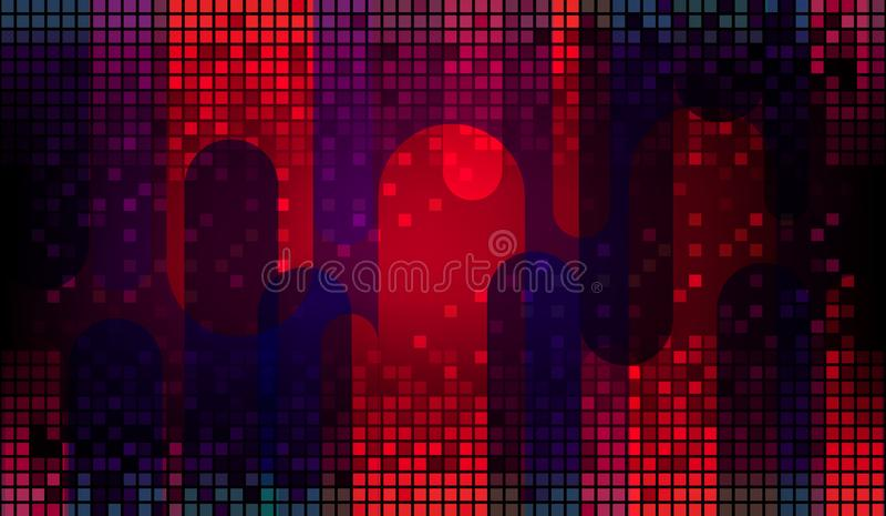 Fond abstrait géométrique rouge foncé avec un ensemble de places et de rayures multicolores illustration stock