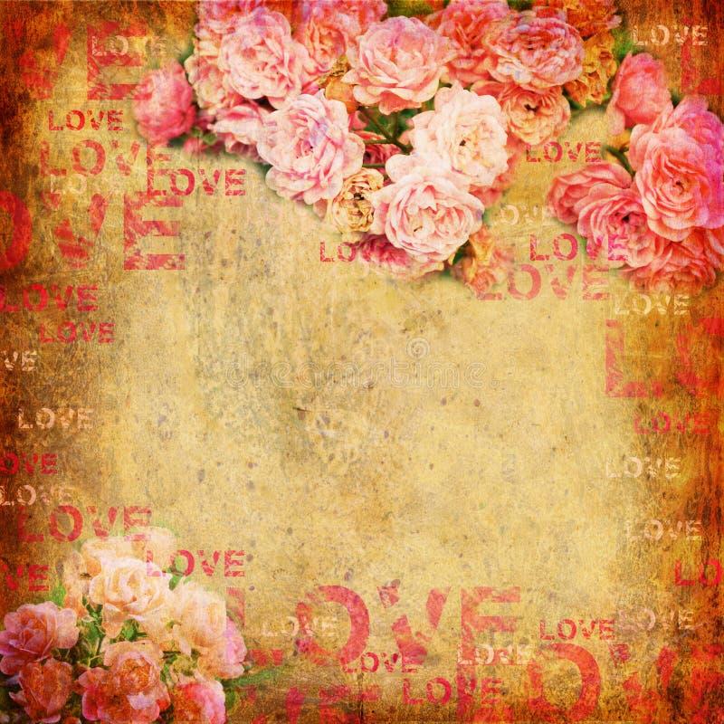 Fond abstrait grunge avec des roses illustration libre de droits