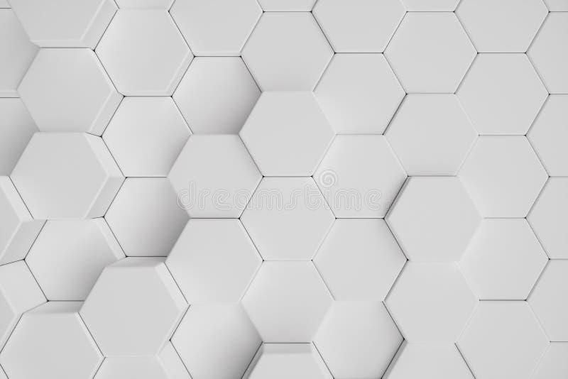 fond abstrait hexagonal géométrique blanc de l'illustration 3D Modèle extérieur d'hexagone, nid d'abeilles hexagonal illustration libre de droits