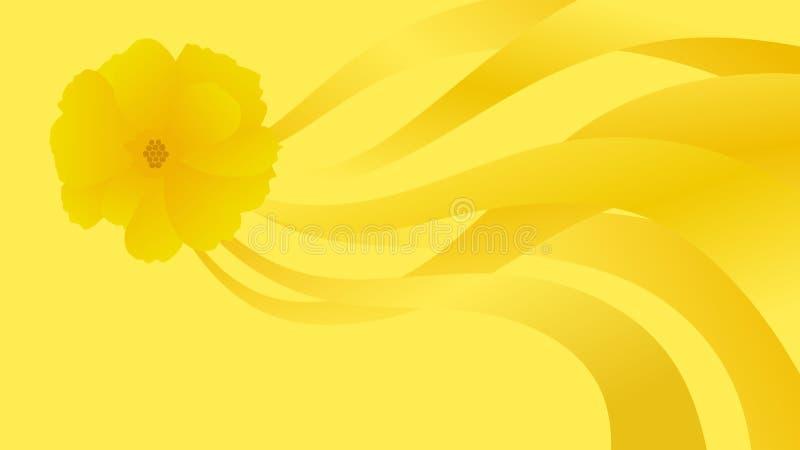 Fond abstrait, illustration jaune de fleur illustration libre de droits