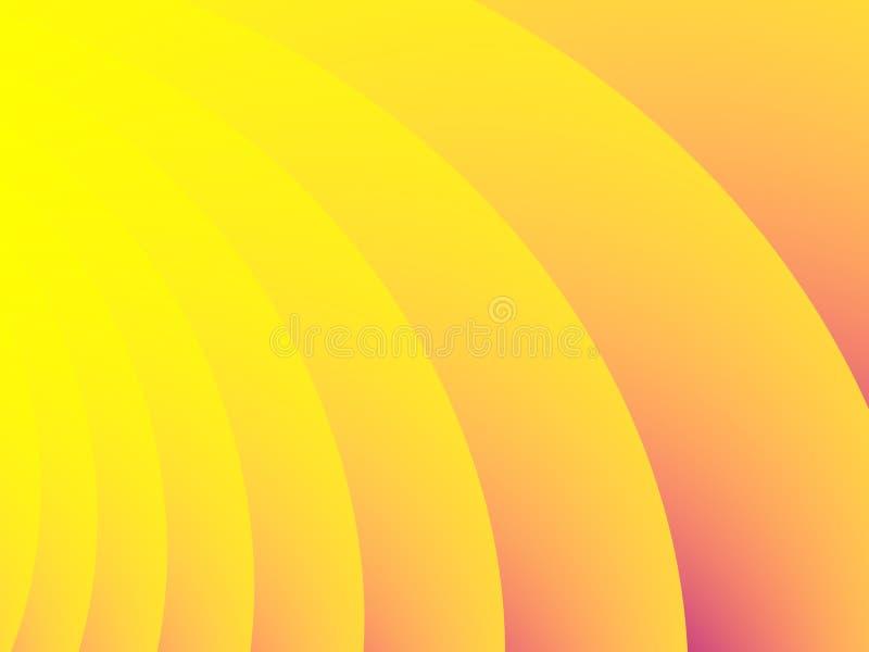 Fond abstrait jaune et orange optimiste de fractale avec les rayures sinueuses et les gradients illustration de vecteur