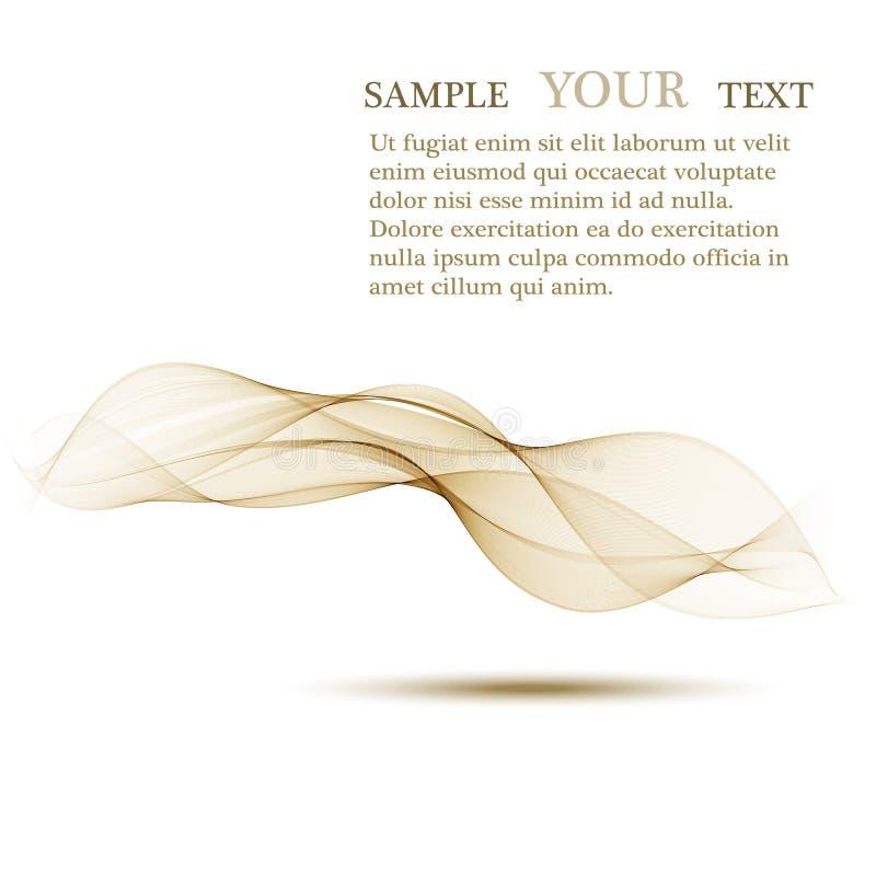 Fond abstrait, lignes onduleuses transparentes beiges pour la brochure, site Web, conception d'insecte Fond onduleux de Brown illustration stock