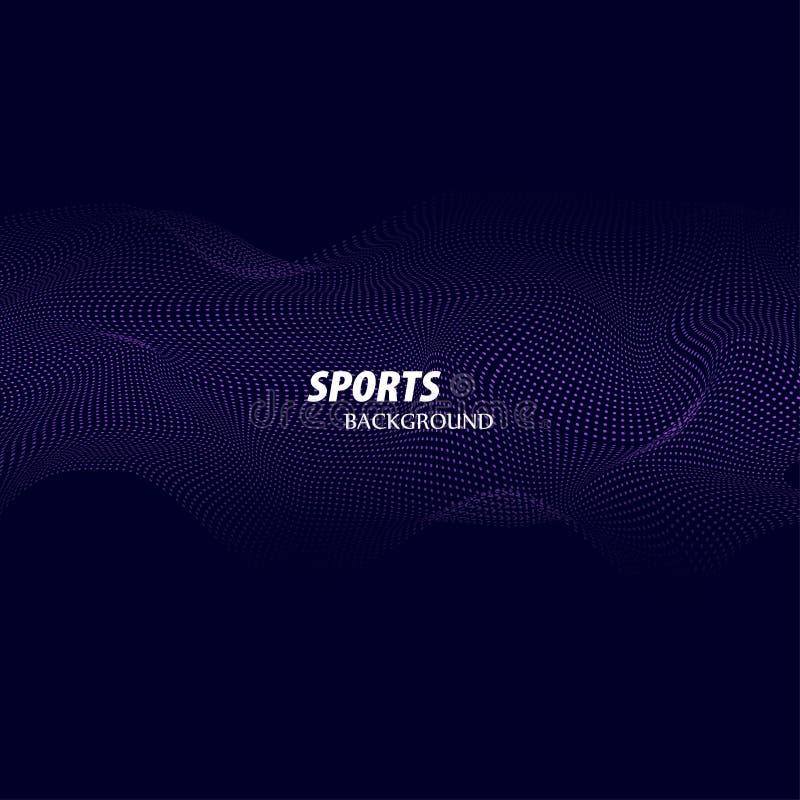 Fond abstrait lumineux avec les vagues dynamiques du style minimaliste Affiche moderne de couleur pour des sports Illustration de illustration libre de droits