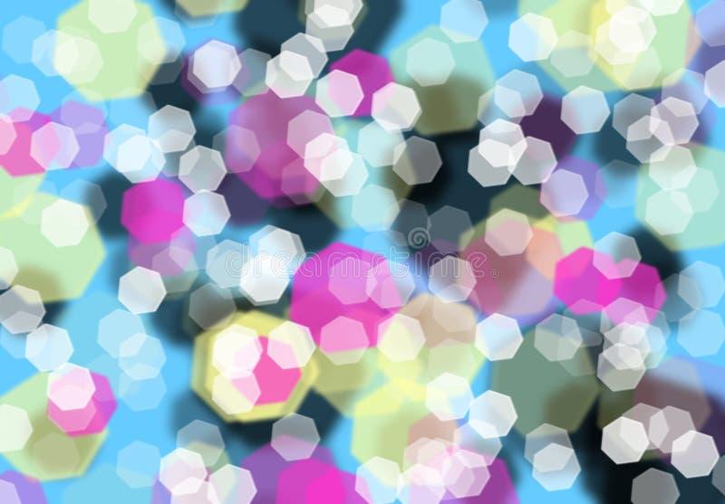 Fond abstrait lumineux coloré de bokeh avec des diamants, points culminants, jeux d'imagination de couleurs, mouvement illustration de vecteur