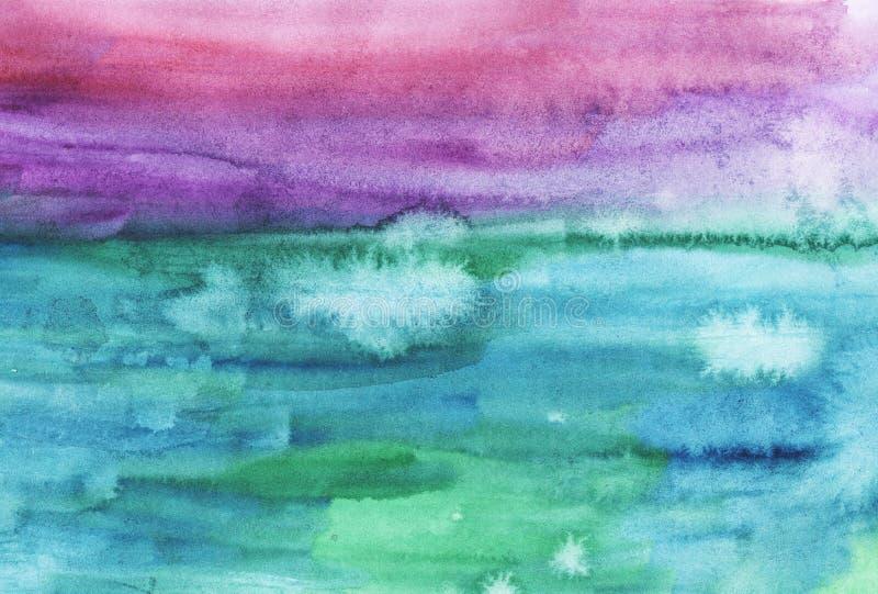 Fond abstrait lumineux de rose d'aquarelle, pourpre, vert et bleu photos libres de droits