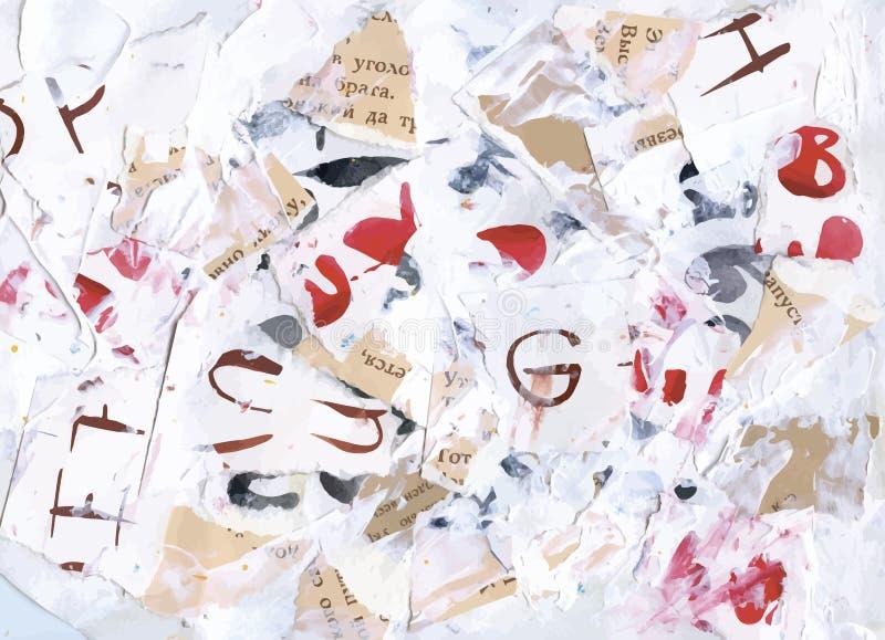 Fond abstrait malpropre d'alphabet d'aquarelle illustration libre de droits